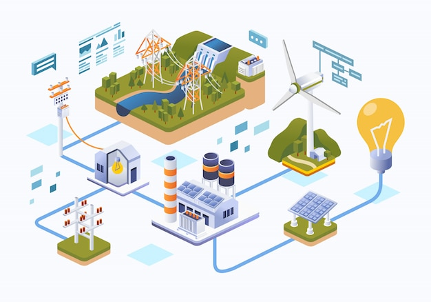 Distribuição de energia da fonte para a ilustração do usuário Vetor Premium