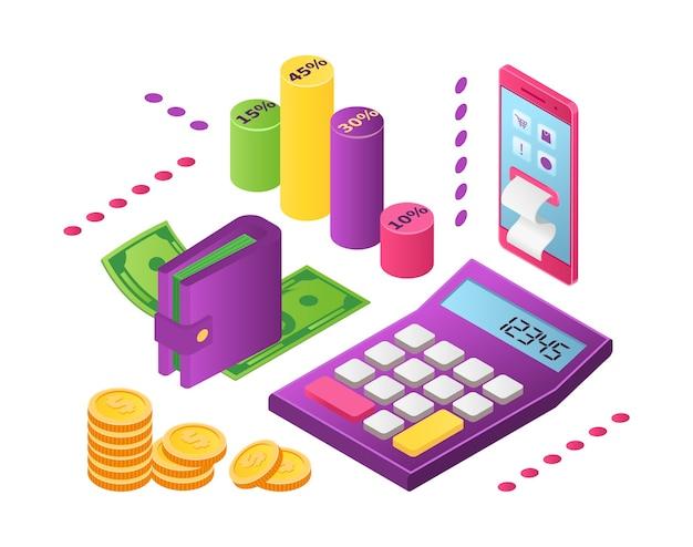 Distribuição de renda, investimento, conceito de economia de dinheiro. os investidores distribuem dinheiro com objetivo de benefício futuro. planejamento financeiro, análise de dados de mercado. orçamento distribuído. Vetor Premium