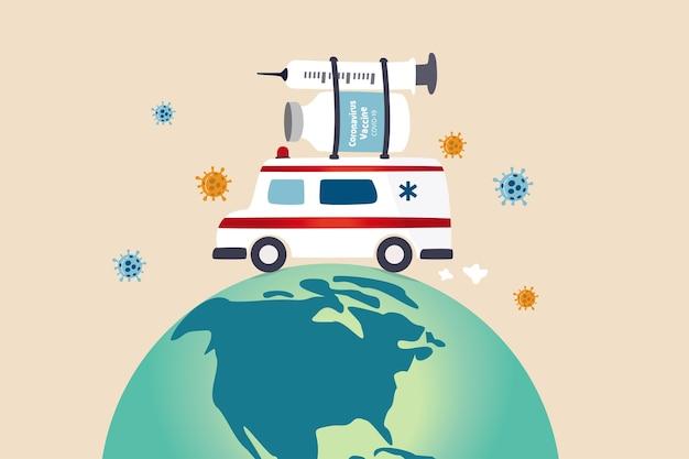 Distribuição de vacinas em todo o mundo após aprovação e pronta para envio em todo o mundo Vetor Premium