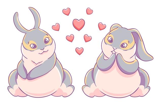 Diversão amando casal coelhinhos Vetor Premium