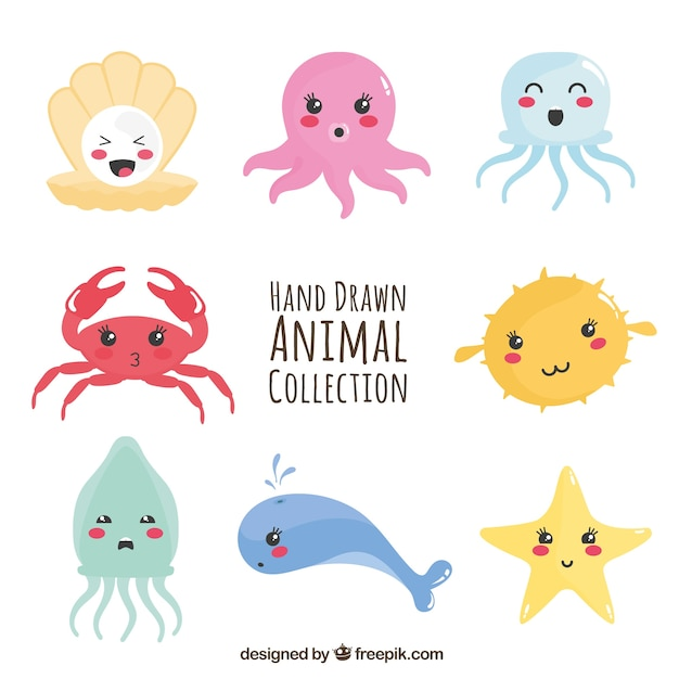 Diversão coleção de animais marinhos Vetor grátis
