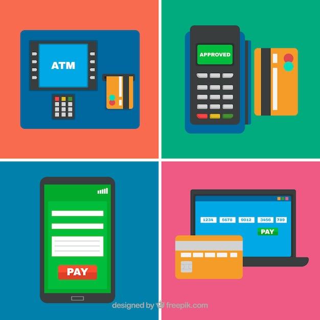 Diversão conjunto de cartão de crédito e pagamento on-line Vetor grátis