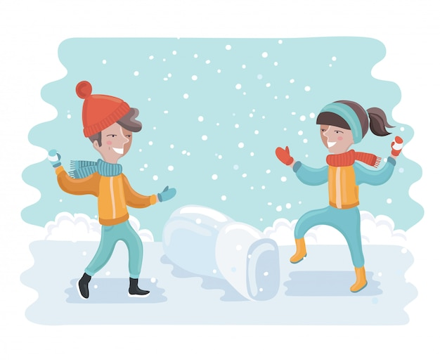 Diversão de inverno. crianças alegres jogando bolas de neve ou brincando na neve. Vetor Premium
