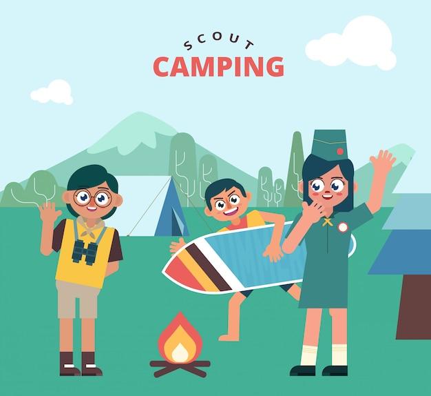 Diversão para crianças scout camping outdoor Vetor Premium
