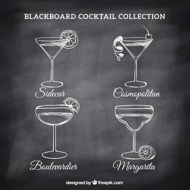 Diversos desenhos de cocktails em um quadro-negro Vetor grátis