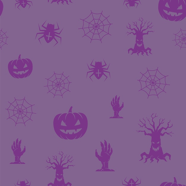 Divertido halloween icons seamless background pattern. Vetor grátis