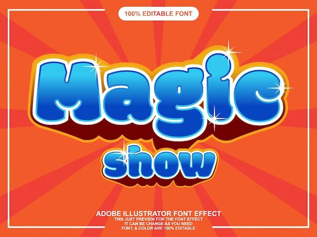 Divertido show de mágica letras editáveis efeito de fonte de tipografia Vetor Premium