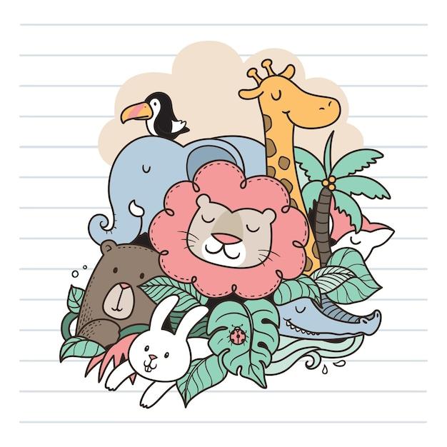 Divirta-se na selva doodle Vetor Premium