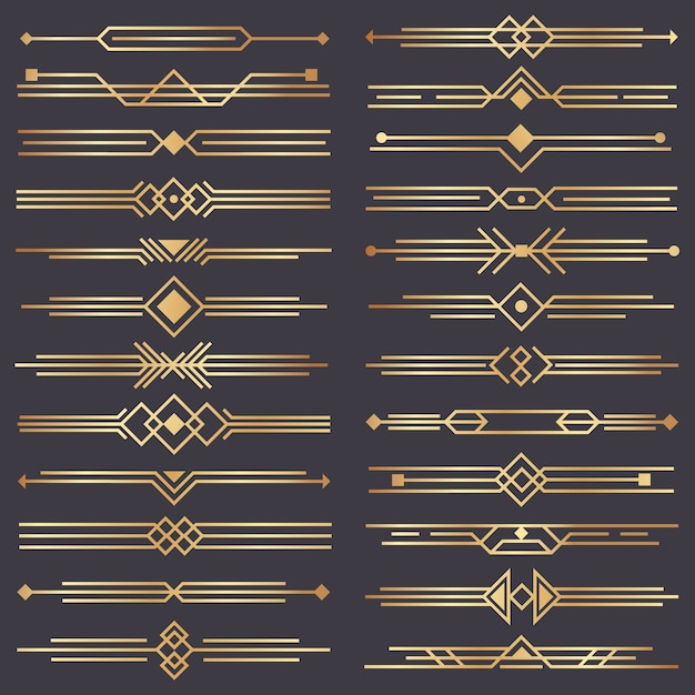 Divisor art déco. fronteira de artes retrô de ouro, ornamentos decorativos dos anos 20 e conjunto de fronteiras de divisórias douradas Vetor Premium