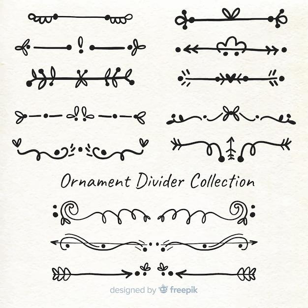 Divisor de ornamento desenhado de mão Vetor grátis