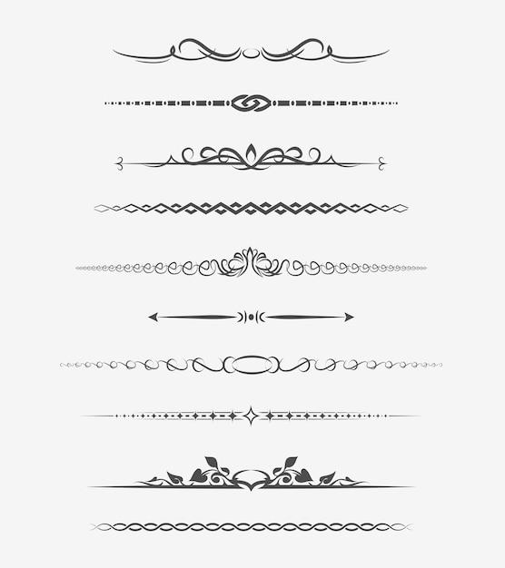 Divisores de página caligráficos. decoração retro, enfeite de livro, capítulo e seta. Vetor grátis