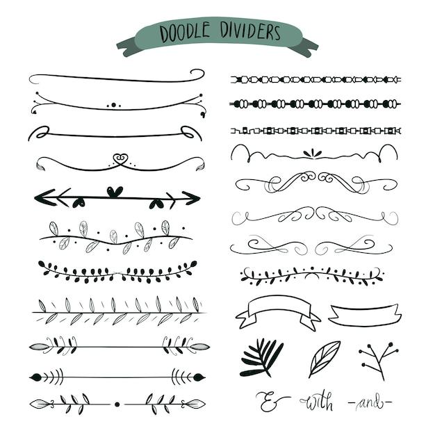 Divisores desenhados à mão. doodle conjunto de linhas, seta de fronteiras. Vetor Premium