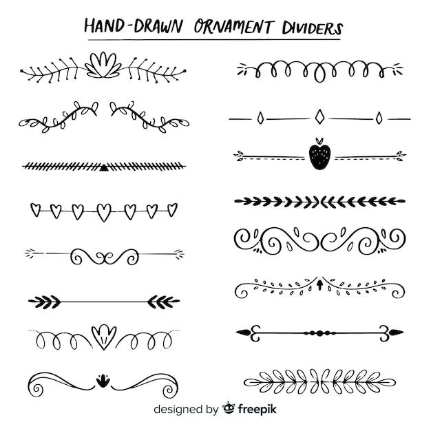 Divisores desenhados à mão Vetor grátis