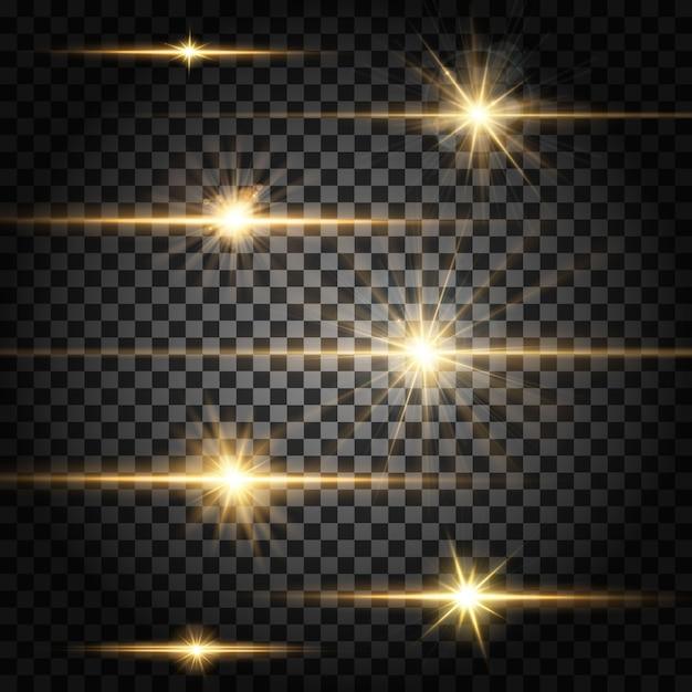 Divisores horizontais de efeito de luz Vetor grátis