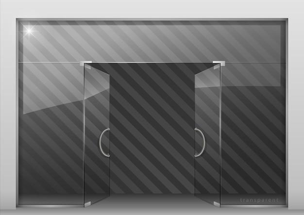 Divisória com porta de vidro Vetor Premium