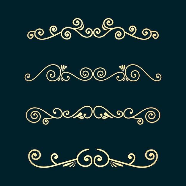 Divisórias decorativas de redemoinhos. delimitador de texto antigo, ornamentos de redemoinho caligráfico e divisor vintage, linhas de decoração de bordas retrô projetam curvas elegantes conjunto de moldura ornamental Vetor Premium
