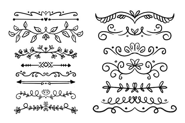 Divisórias e molduras para decoração de documentos Vetor grátis