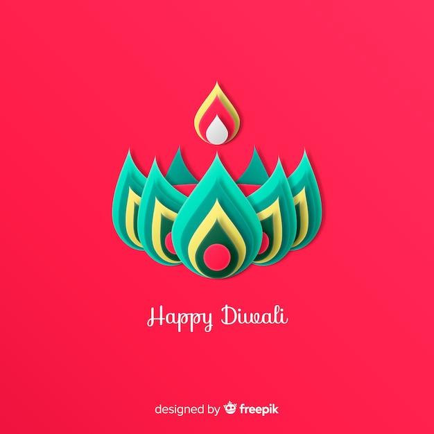 Diwali decorado fundo em estilo de jornal Vetor grátis