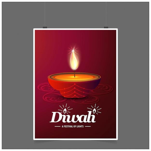 Diwali design fundo escuro e tipografia vector Vetor grátis