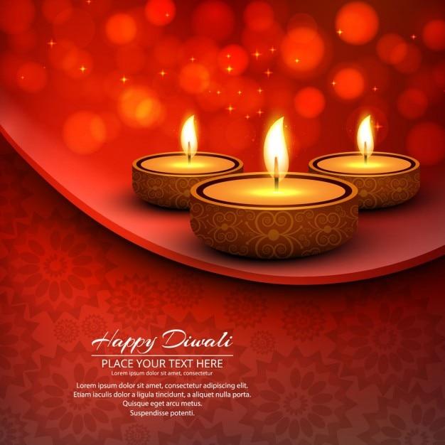 Diwali feliz fundo vermelho Vetor grátis
