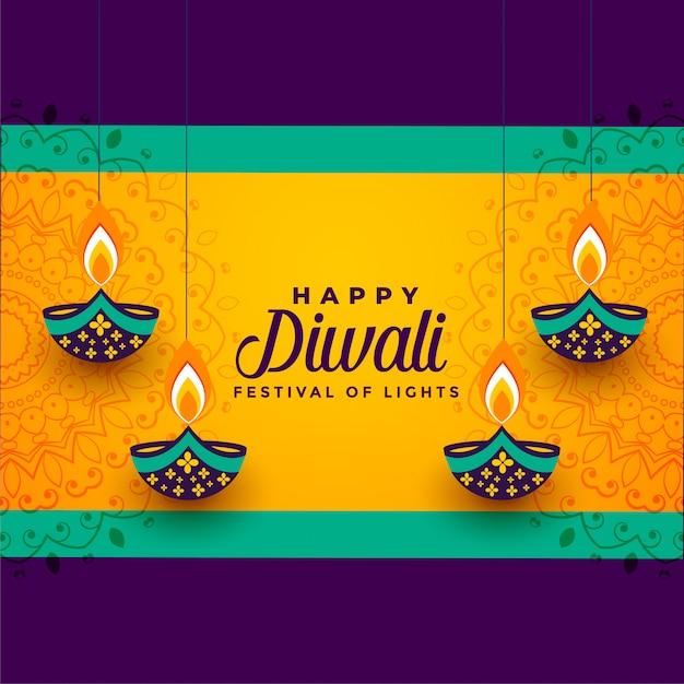 Diwali feliz que pendura o diya decorativo Vetor grátis