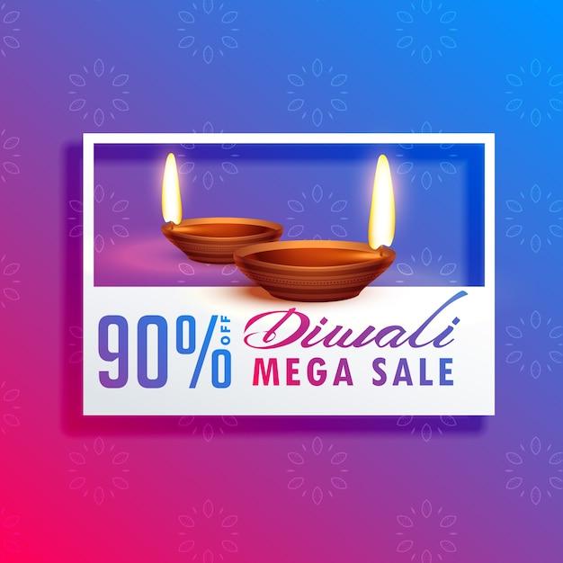 diwali festival temporada venda fundo com diya Vetor grátis
