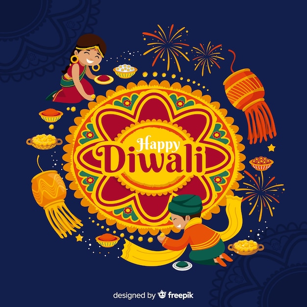 Diwali fundo em design plano Vetor grátis
