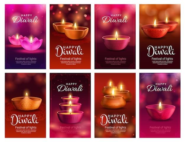 Diwali ou deepavali diya lâmpada do festival de luz indiano e saudação de feriado da religião hindu. lâmpadas de óleo deepawali, decoradas com padrão rangoli, flores paisley e luzes bokeh Vetor Premium