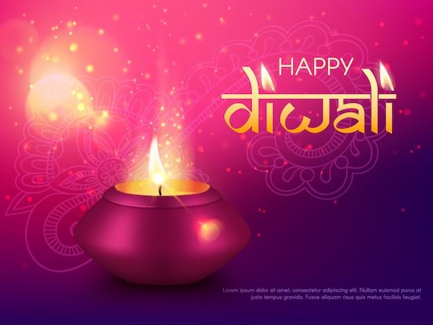 Diwali ou deepavali indiano feriado feliz, índia, fundo do cartão hindu diya. lâmpada de celebração do festival diwali ou deepwali e decoração de mandala rangoli, com vela dourada brilhante Vetor Premium