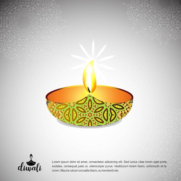 Diwali projeto luz de fundo e tipografia vector Vetor grátis