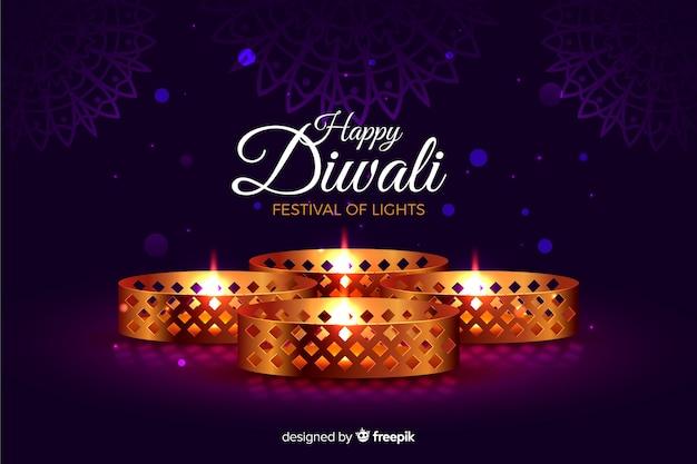 Diwali realista com fundo de luzes Vetor grátis