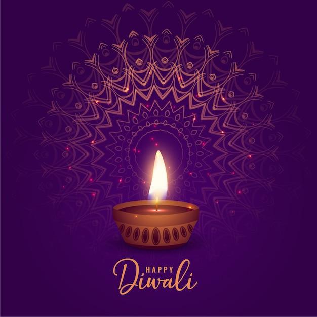 Diya bonito do festival do diwali no fundo da mandala Vetor grátis