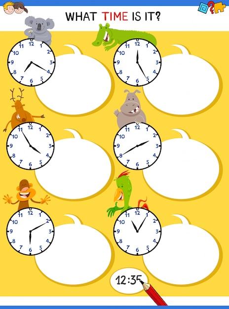 Dizendo tempo tarefa educacional com relógio Vetor Premium