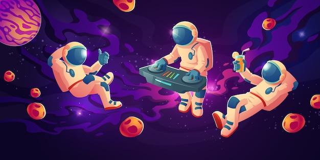 Dj de astronauta com plataforma giratória em espaço aberto Vetor grátis