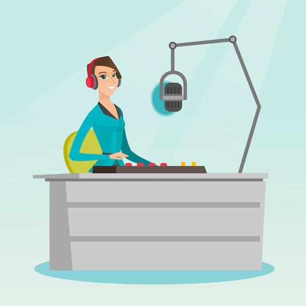 Dj feminino trabalhando na ilustração vetorial de rádio Vetor Premium