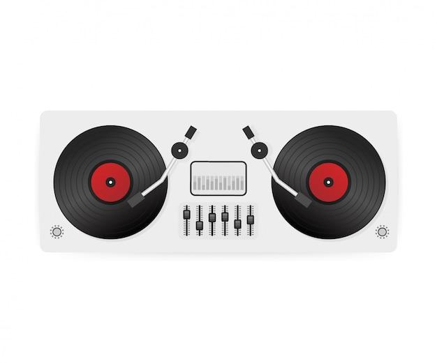 Dj tocando vinil. vista do topo. plataformas giratórias do console do mixer da área de trabalho da interface do dj. . Vetor Premium