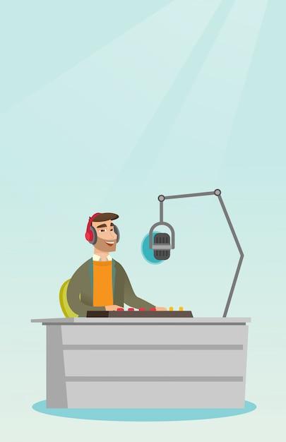 Dj trabalhando na ilustração vetorial de rádio Vetor Premium