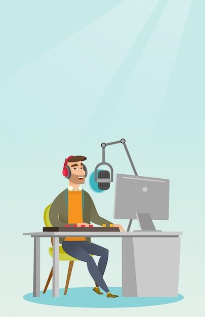 Dj trabalhando no rádio Vetor Premium