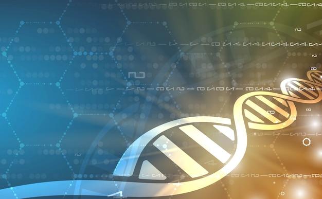 Dna e fundo médico e tecnologia. apresentação futurista da estrutura da molécula Vetor Premium