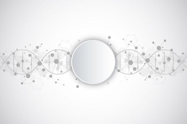 Dna strand e estrutura molecular. engenharia genética ou pesquisa de laboratório Vetor Premium