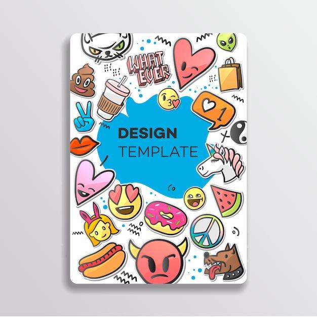 Do design da capa com padrão de manchas. mão desenhada adesivos criativos, ilustração. Vetor Premium