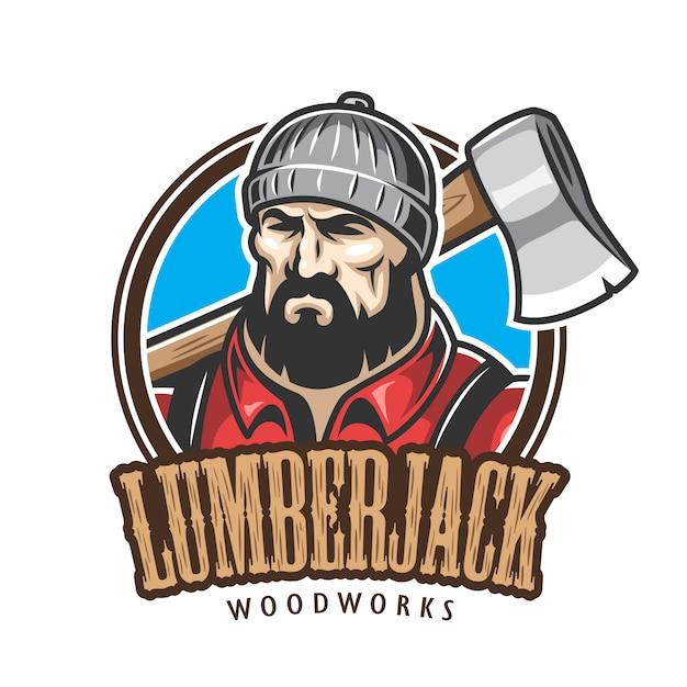 Do emblema de lenhador, etiqueta, distintivo, logotipo com texto. isolado no fundo branco. Vetor grátis