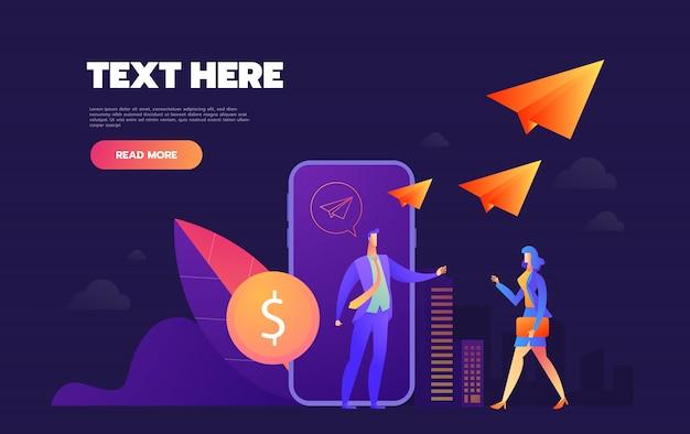 Doação online. celular com uma moeda na tela. os usuários estão enviando moedas. banner da web, infográficos. ilustração isométrica Vetor Premium