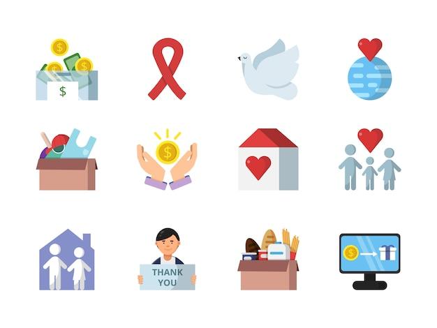 Doação, presentes e outros diferentes símbolos de instituições de caridade Vetor Premium