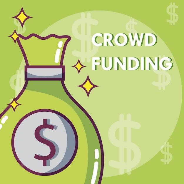 Doações de crowdfunding e conceito de investimento Vetor Premium