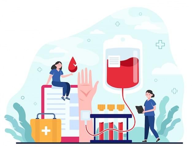Doador de sangue e enfermeira Vetor grátis