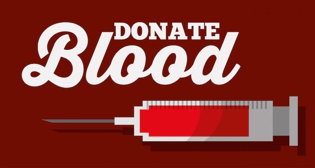 Doar sangue seringas saúde medical Vetor Premium