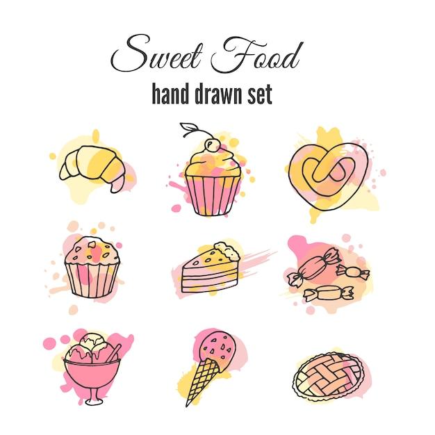 Doce, alimento, mão, desenhado, jogo Vetor grátis