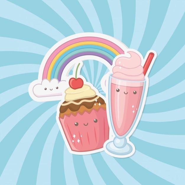 Doce cupcake e doces personagens kawaii Vetor grátis