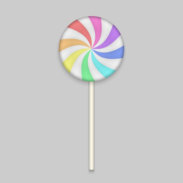 Doce de arco-íris lolipop em branco Vetor Premium